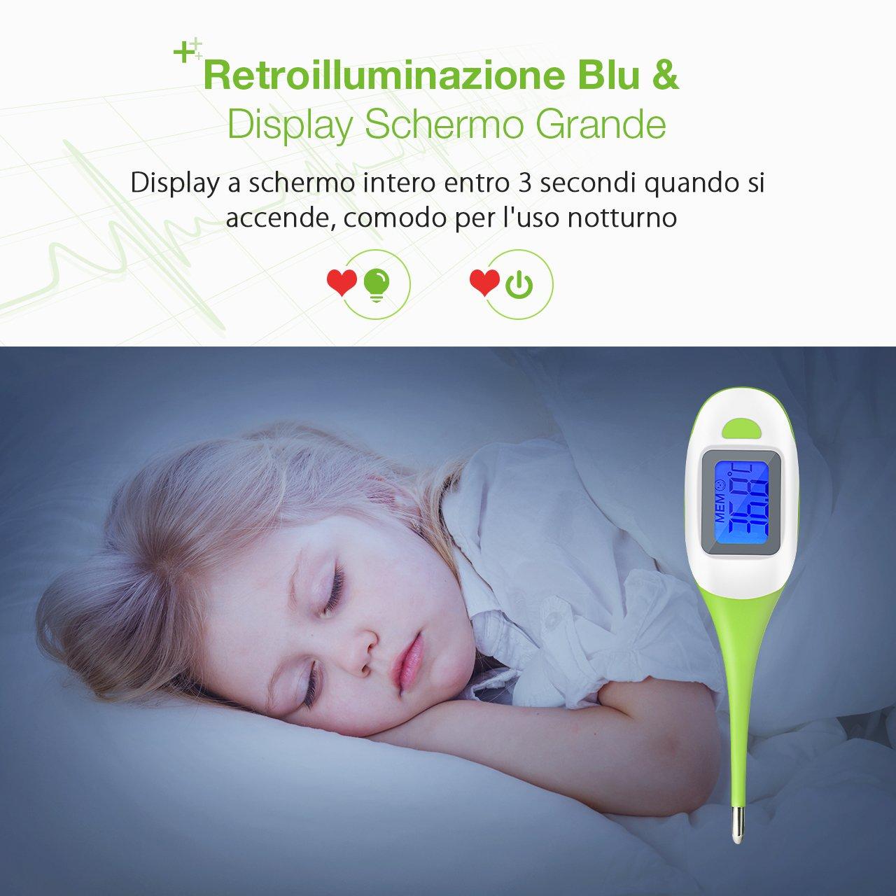 LiSmile Termómetro Digital para Bebé con 10 Datos Memorias, Termómetro Superior con Pantalla Retroiluminada, Bi Alarma, Tres Mediciones Rectal Oral y Axila, ...