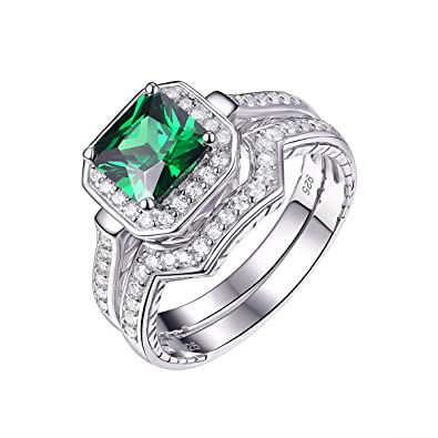 Newshe Vintage Princess Created Blue Sapphire 925 Sterling Silver Gemstone Ring Size J to T fV0WJGk2Hs