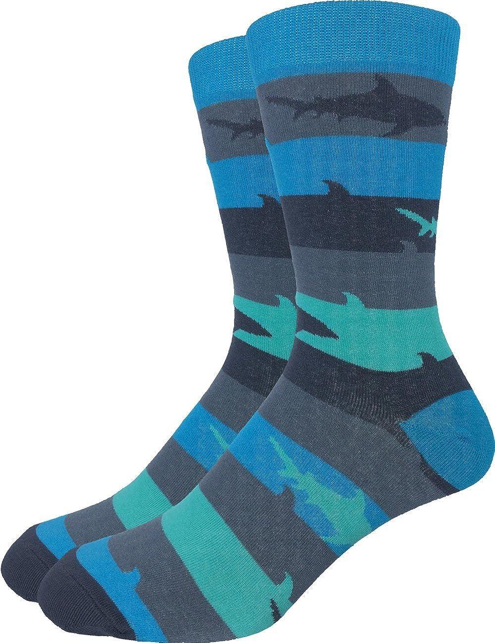 Good Luck Sock Men's Extra Large Striped Shark Socks, Size 13-17, Big & Tall