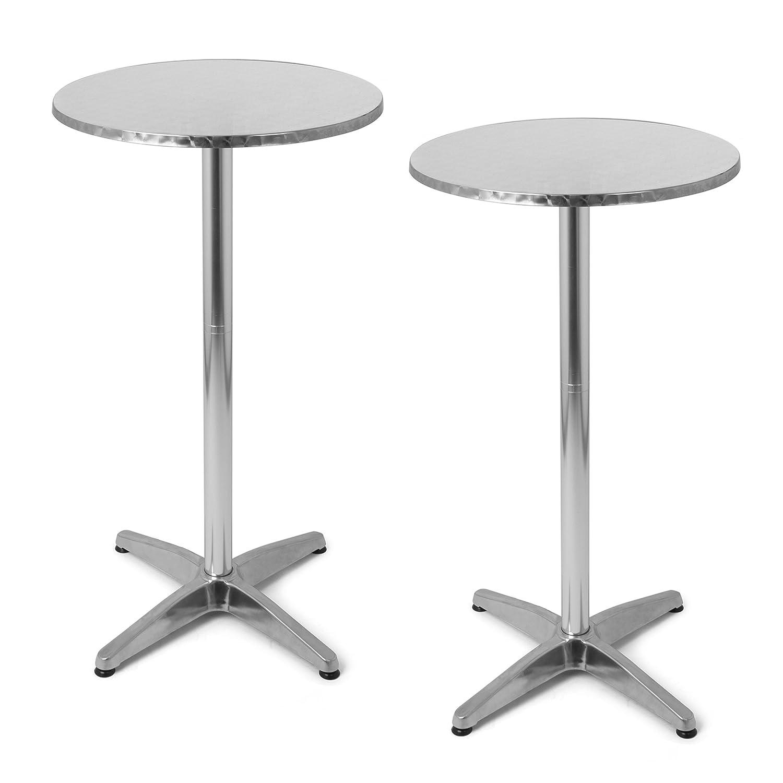 Park Alley Tavolino da Giardino - Set da 2 Tavoli da Bistrot Regolabili in 2 Altezze - Alto a 110 cm o Basso a 7 cm - Ideali come Tavolo per Giardino o Bar PA-4901