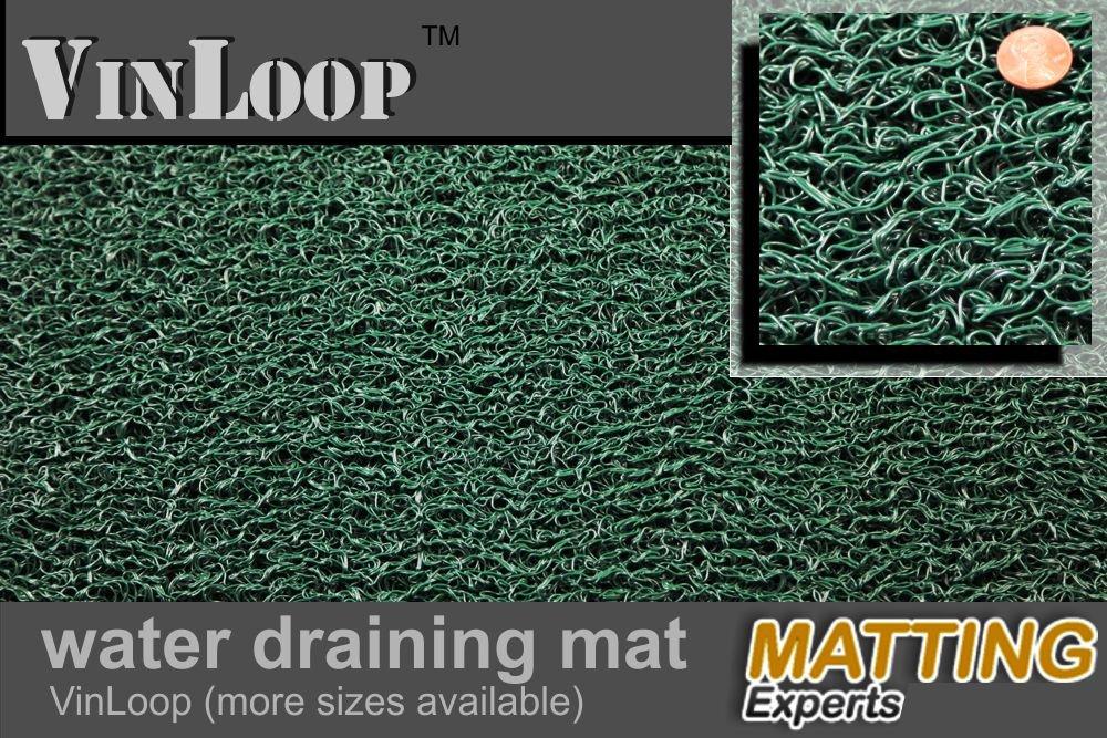 VinLoop Vinyl Pool Shower 4x2, Black Comfortable Looped Mat Locker Room Bathroom Spaghetti Mat by MattingExperts Drains Water