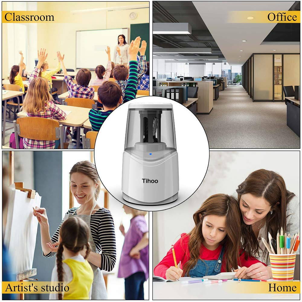Rechargeable Powerful Electric Pencil Sharpener with USB Cable Fast Charge /& Sharpen Durable Helical Blade Auto Stop for No.2 /& Colored 6-8mm Pencils in School Classroom//Office//Home