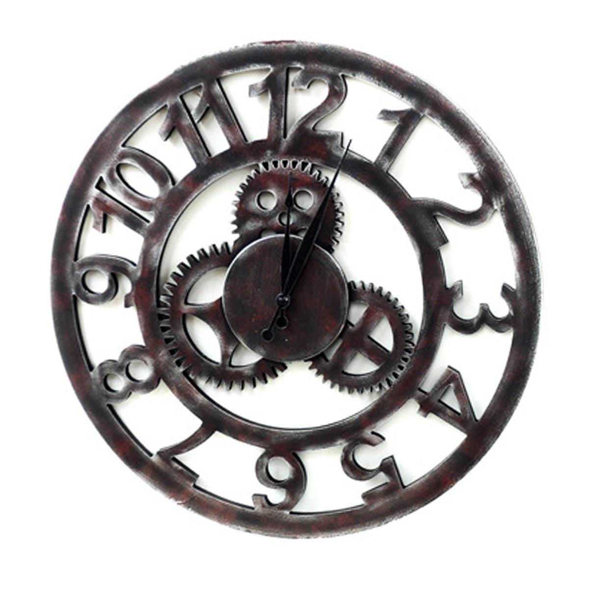 Gosear® Bois de Style Américain Pays Primitif Rétro Mural Temps Horloge Home Décoration