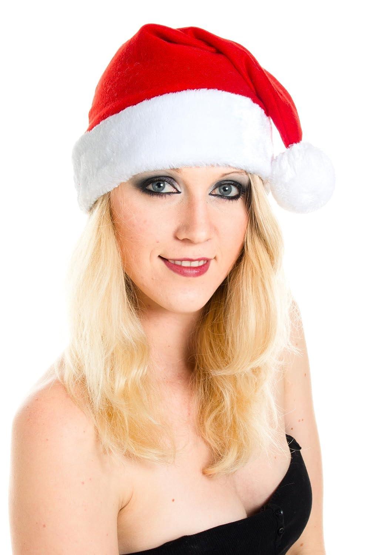 Weihnachtsmütze Nikolausmütze Leuchtbommel Samt Hut Top Qualität X2