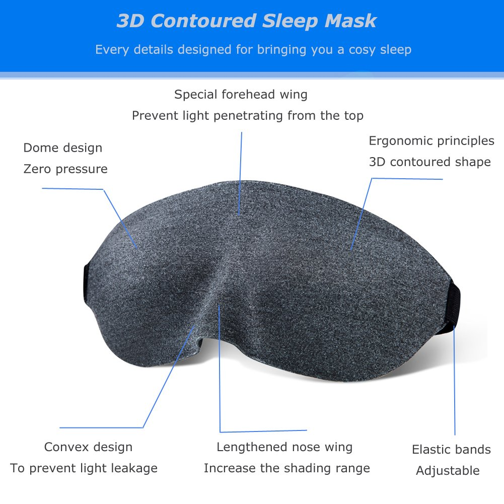 Sleep Mask Eye mask 3D Contoured Sleeping Mask Super Soft Blindfold Eyeshade for Travel Naps Shift Work of Men and Women