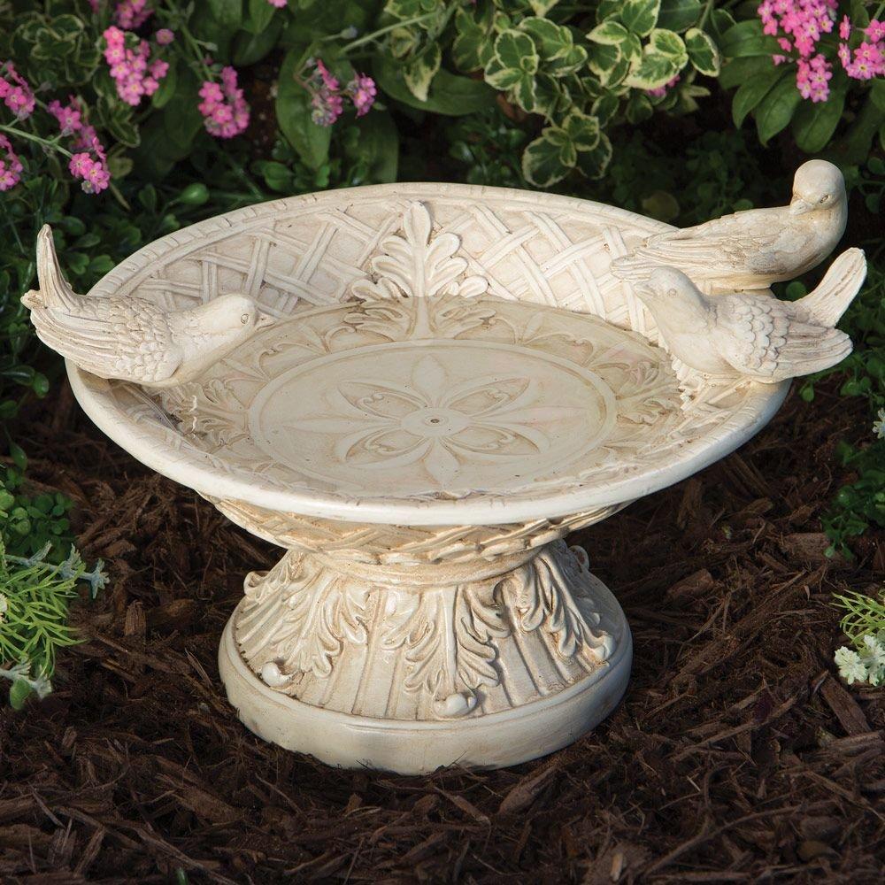 Bits and Pieces - White Pedestal Bird Bath Garden Décor/Sculpture - Weather Resistant Polyresin Garden or Yard Statue