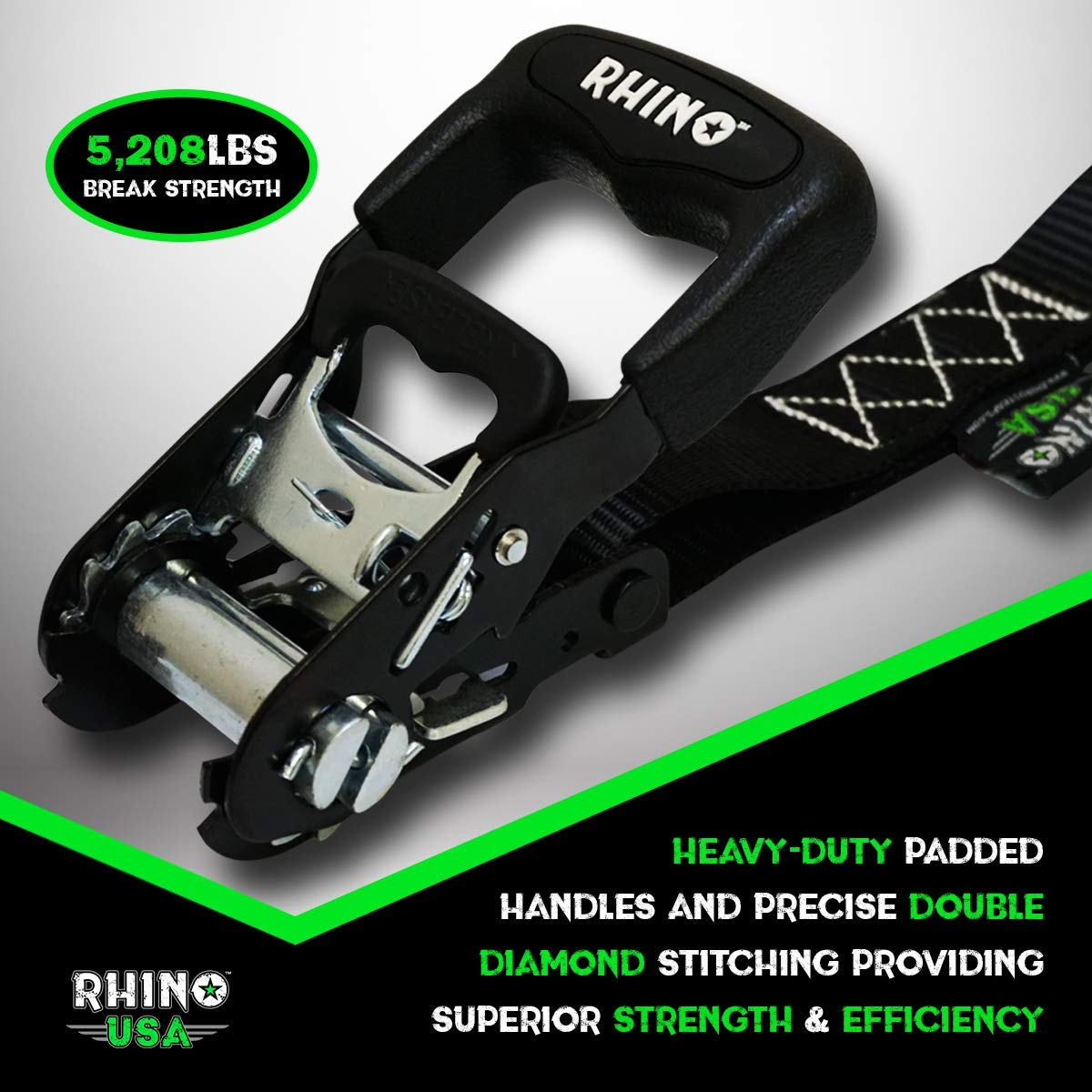 BLUE Heavy Duty 1.6 x 8 Rachet Tiedowns with Padded Handles /& Coated Chromoly S Hooks + Soft Loop Tie-Downs 5,208 Break Strength - RHINO USA Ratchet Straps Motorcycle Tie Down Kit 2 HDKIT-4PACK-BLU 2