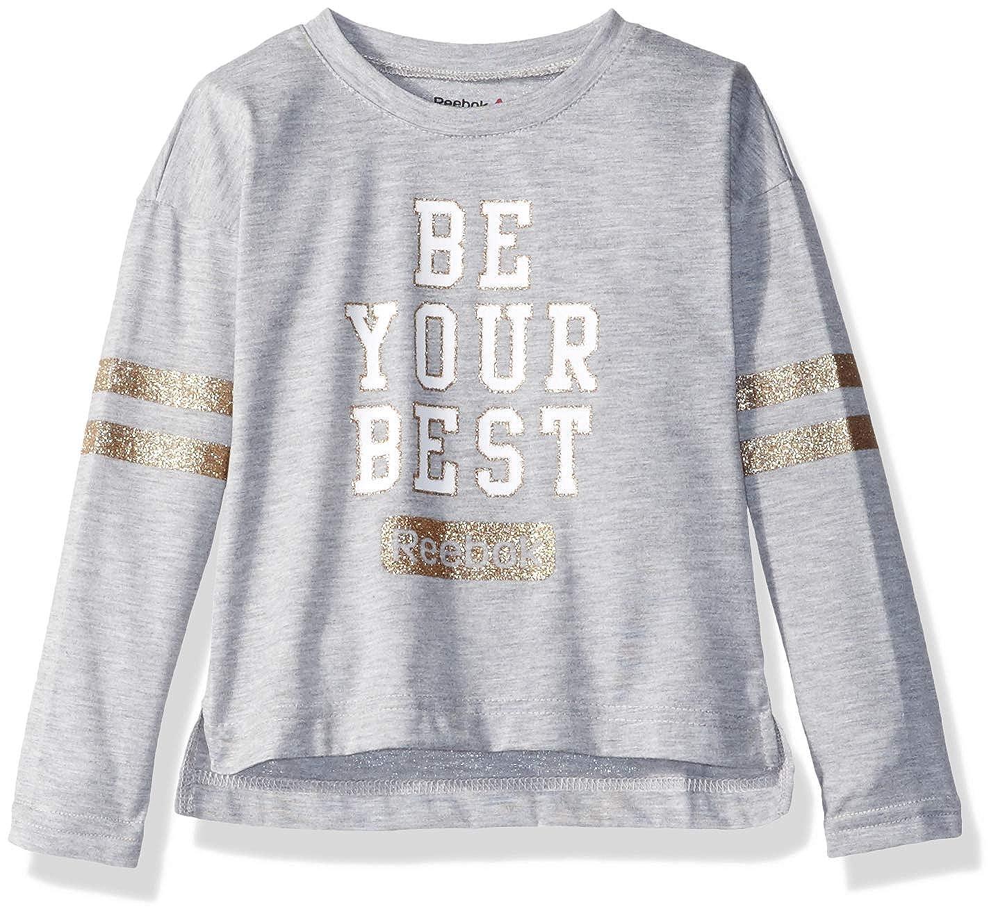 50ca7413 Reebok Girls' Sporty Long Sleeve Glitter Striped T-Shirt