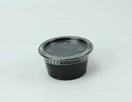 1bacd214e1a Disposable 2oz Plastic Condiment Cups with Lids, Souffle Portion, Jello  Shot Cups, Salad Dressing, Sauce (100, Black)