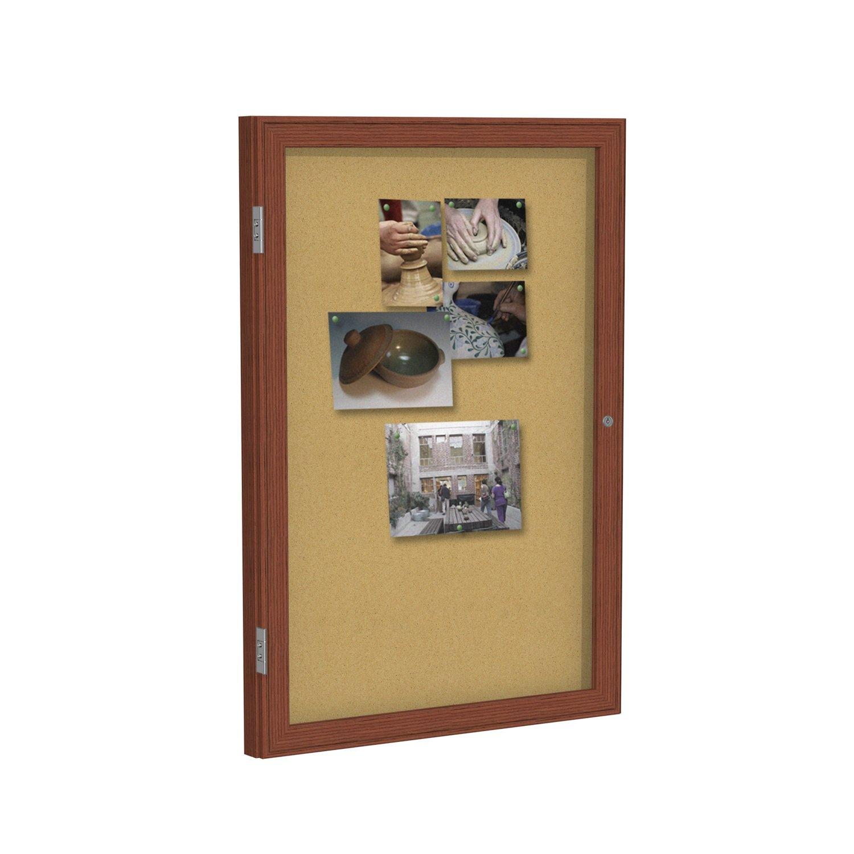 Ghent 36 X 48-Inch 2-Door Satin Aluminum Frame Enclosed Tackboard Natural Cork PA23648K