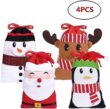 2 Grand Mignon Cadeau de Noël Sacs Avec Étiquettes Père Noël et bonhomme de neige NOUVEAU