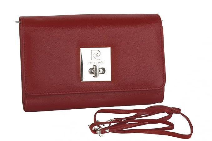 Cartera del bolso mujer de mano PIERRE CARDIN rojo cuero con abertura metálica: Amazon.es: Ropa y accesorios