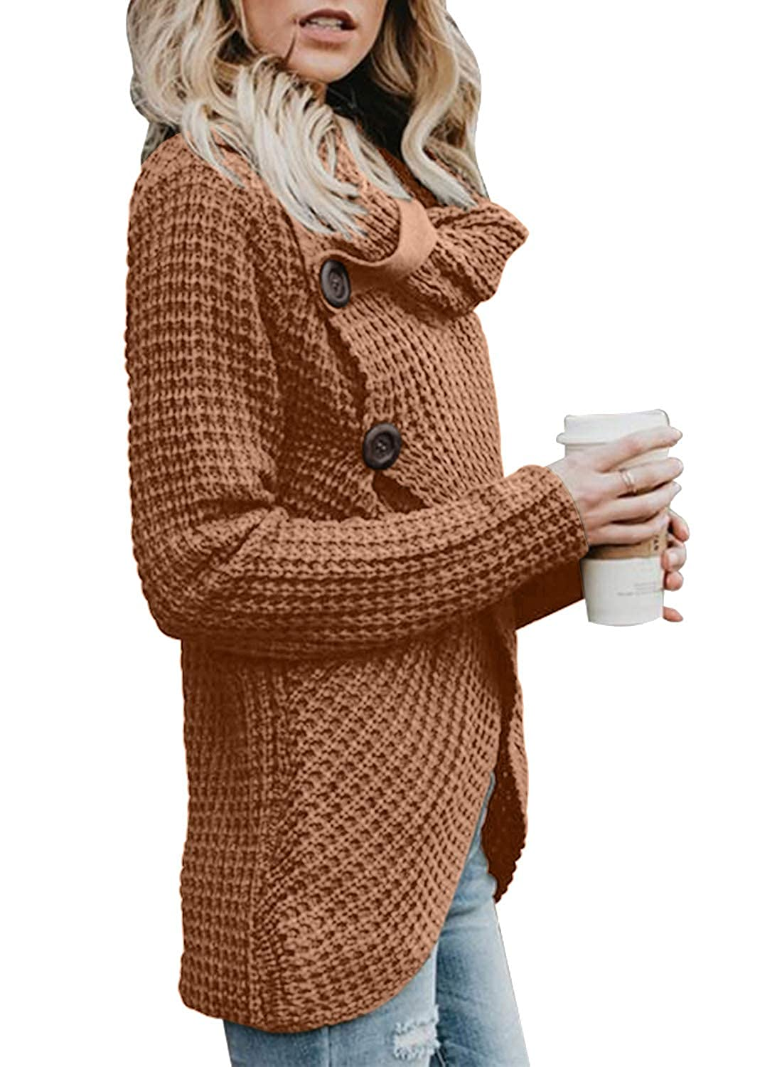 75cbc81792 Asvivid Womens Chunky Turtle Cowl Neck Asymmetric Hem Wrap Sweater Coat  with Button Details AF27689-X