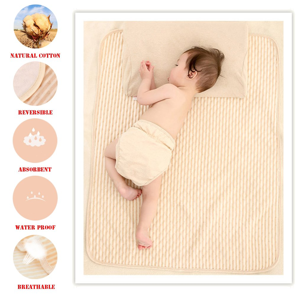 Organic Cotton Waterproof Newborn Infant Baby Bassinet Bedding Mattress Pads Bed Wet Diaper Cradle Crib Stroller Absorbent Changing Mat Nursing Incontinence Sheet for Toddler Adults (Brown-Stripe, M)
