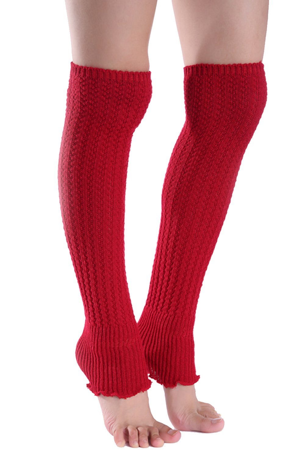 YACUN Women's Winter Cold Weather Solid Knit Long Leg Warmers Red F CAHT801Red_F