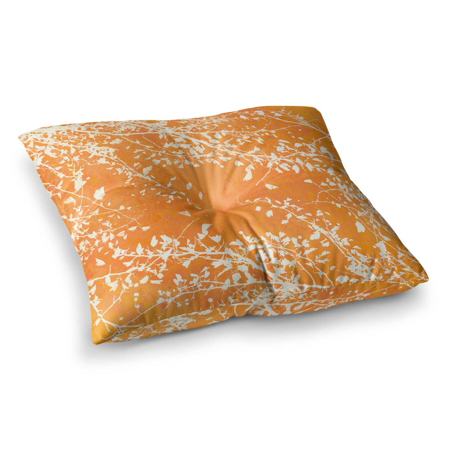 Kess InHouse Iris Lehnhardt Twigs Silhouette Orange Tangerine 26 x 26 Square Floor Pillow