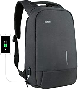 OUTJOY Backpack for Men Anti-Theft Laptop Backpack Computer Backpack for Business Work Travel with USB Charging Port Fits 15.6 Inch Laptop Notebook Tablet,Water Resistant Bookbag for College School