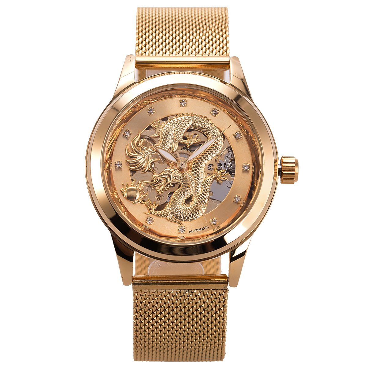 Mens Automatic Skeleton Mechanical Watch - ManChDa Mesh Band Luxury Business Casual Stainless Steel Analog Watch Golden