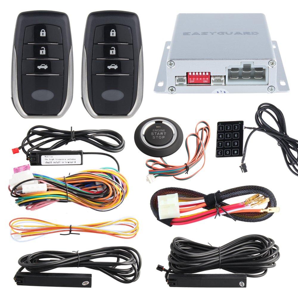 EASYGUARD EC002-T2 PKE car alarm system keyless entry auto start starter push start button password keypad rolling code