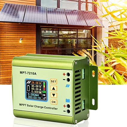 Solar Charge Controller Akozon MPT-7210A Aluminum Alloy LCD Display MPPT Solar Panel Charge Controller for Lithium Battery