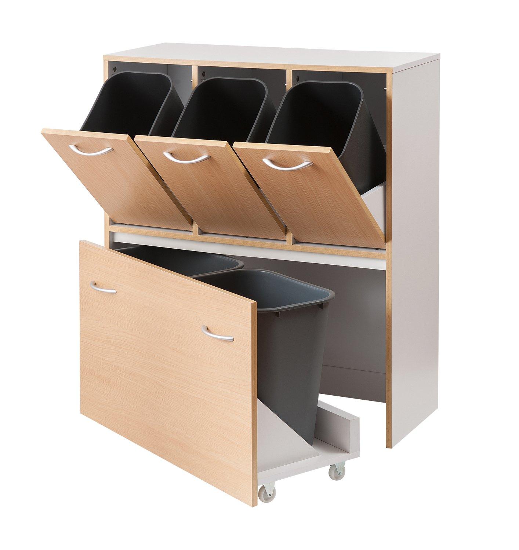 組立 分別ゴミ箱 目隠しダストボックス (5分別, ナチュラル) B01LYMF098ナチュラル 5分別