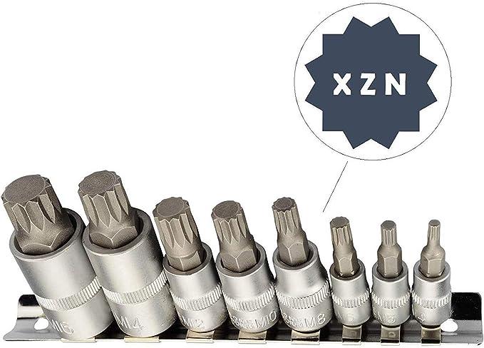 M4 für XZN BGS Bit-Einsatz-Satz Innenvielzahn M16 8-tlg.matt verchromt CrV