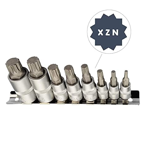 Juego de puntas Bit para destornilladores con punta XZN (4-16 mm, 8 piezas)