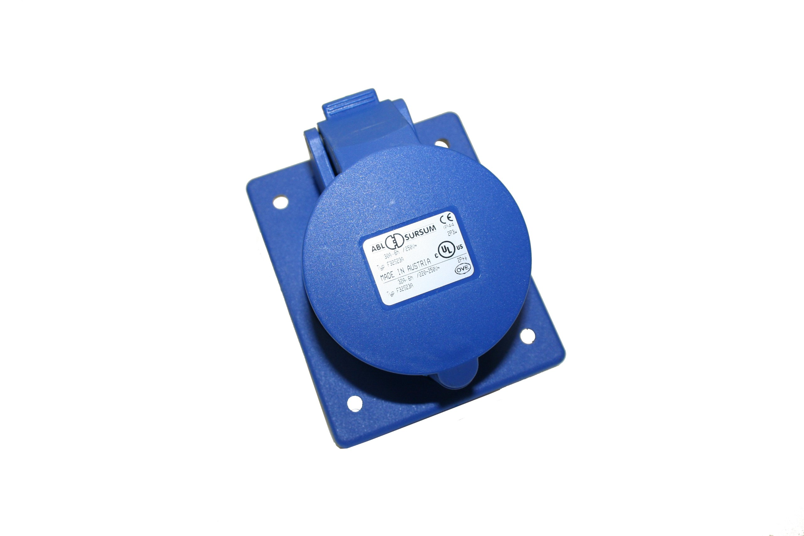 Interpower 84232233 IEC 60309 High Power Recepticale, Two Pole, Three Wire, 30A Rating, 250VAC Voltage, Blue 6 Hour Designation