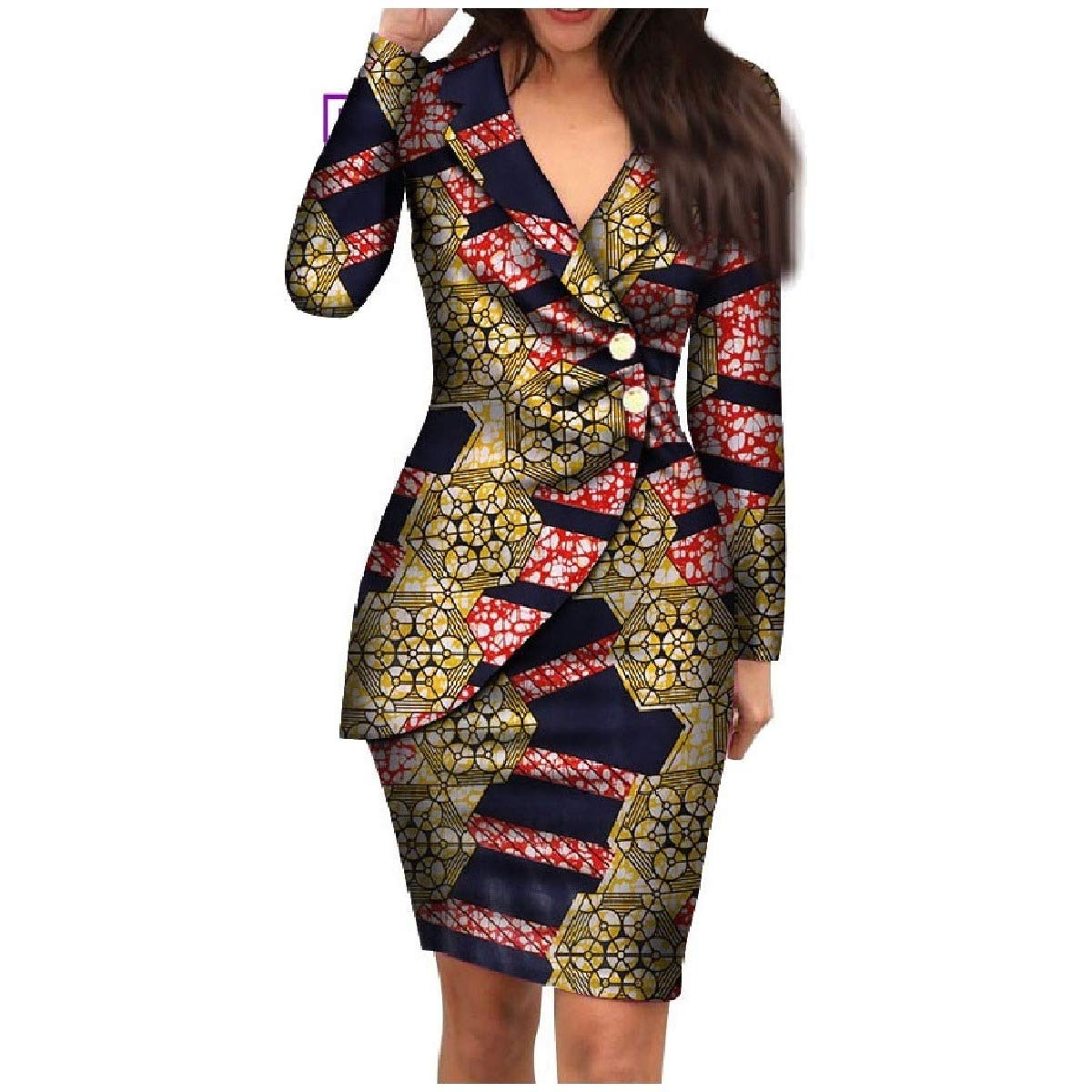 2 HEFASDM Women's Dashiki Elegent Blazer African Printed Premium Back Cotton Dress
