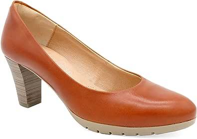 Desireé Hecho en España - zapatos de tacón para mujer cuero marrón claro EUR-35 - zapatos de salón elegantes y cómodos con 6-cm tacón medio alto, forro de piel genuino y confort