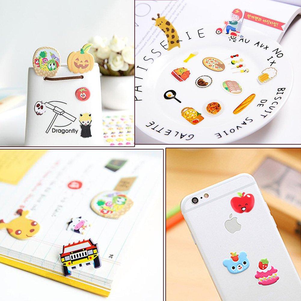 16 Fiches Yuccer 3D Gommettes Enfants Stickers Mignon DIY D/écoration Autocollants de Journal Animaux Autocollant Recompense comme Votre Cadeau danniversaire denfants