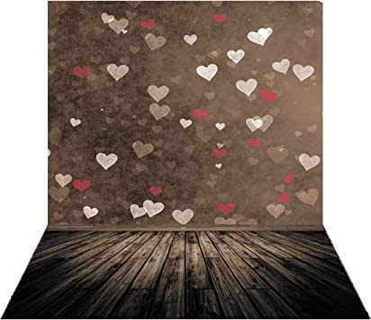 SJOLOON 5x7ft Valentines Day Backgrounds Love Heart Wood Floor Photography Backdrops Newborn Photo Background 10869