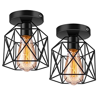 promo code 74871 306f6 Licperron Semi-Flush Mount Ceiling Light E26 E27 Retro Black Industrial  Ceiling Light Fixture for Porch Hallway Kitchen Farmhouse Lighting 2 Pack