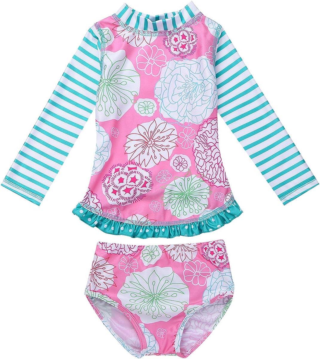 ranrann Infant Baby Girls One Piece Rash Guard Swimwear Long Sleeves Ruffled Floral Printed Swimsuits Bathing Suit Beachwear