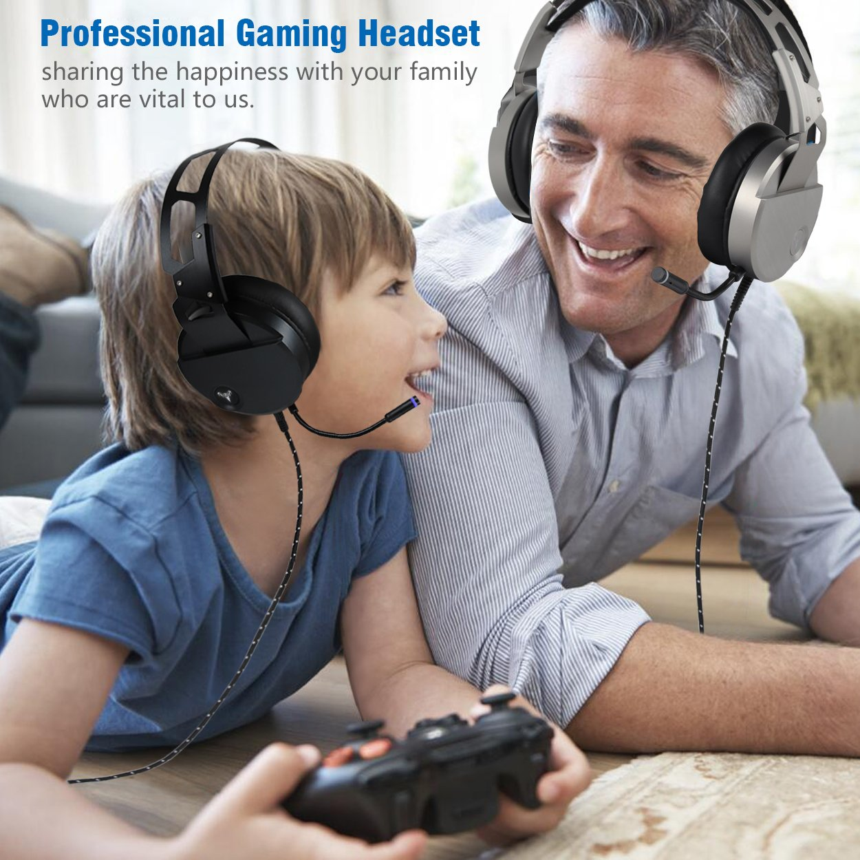 Amazon.com: Gaming Headset for PS4 Xbox One, USB Stereo Over Ear Headphones with Crystal Clear Sound, LED Lights & Noise-Canceling Microphone for Laptop, ...