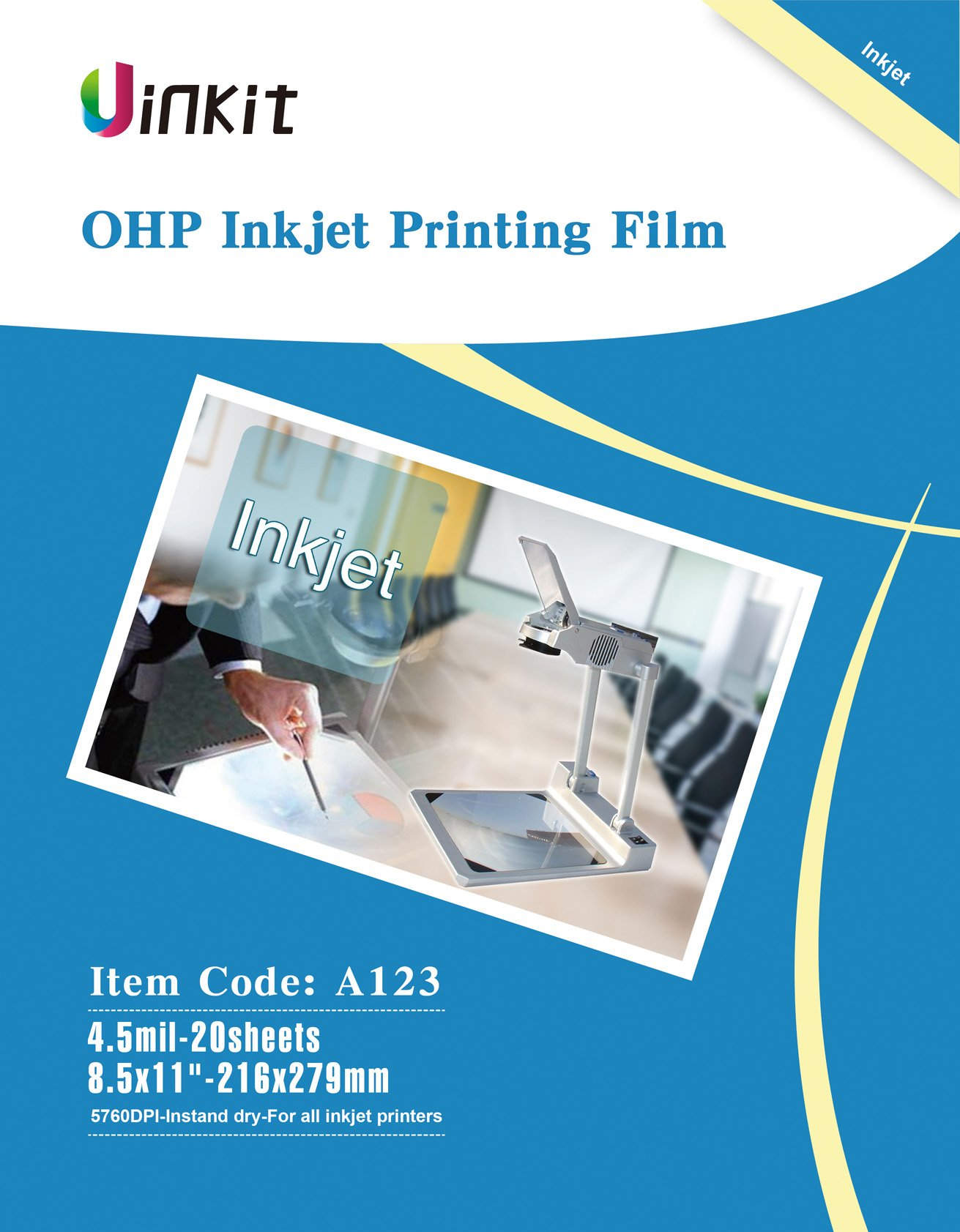 OHP Film Overhead Projector Film - 8.5x11'' For Inkjet Printer only Transparency Film 20 Sheets Uinkit