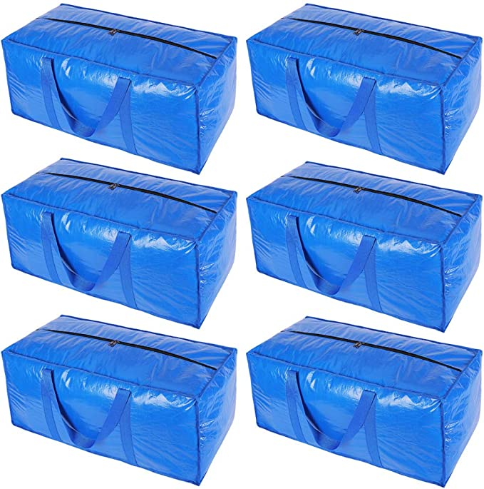 Amazon.com: KHIKILY Heavy Duty Extra Large Storage Bags Moving Bag Totes for Travelling, College Carrying, Moving, Camping, Christmas Decorations Storage (Blue - Set of 6): Home & Kitchen