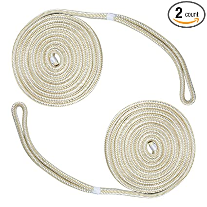 1-Pack 3//8 Inch 20ft Double Braid Nylon Dockline Boat Mooring Rope Dock Lines