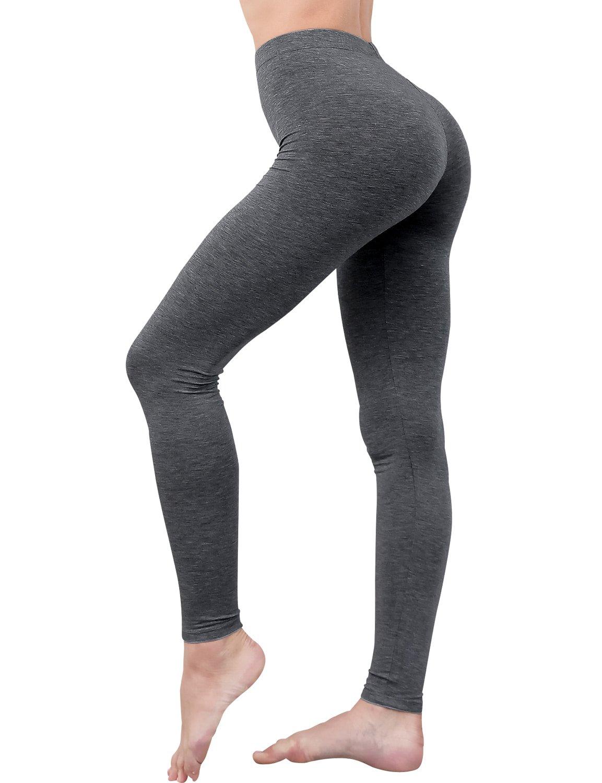 HASLRA Women's Light Weigh Premium Viscose Rayon Stretch Full Length Leggings (Melange Charcoal)