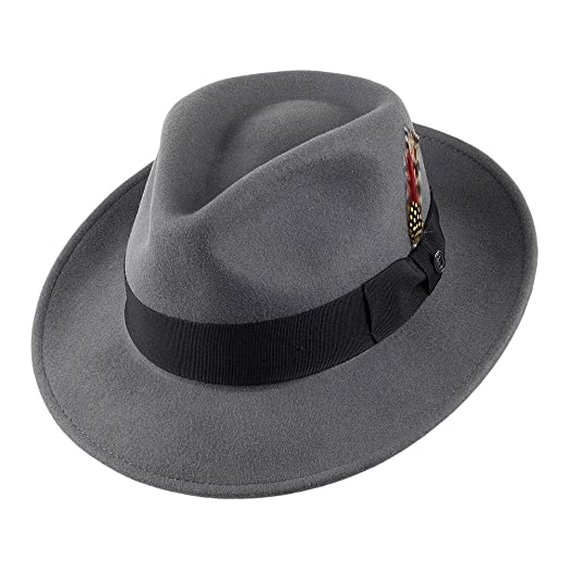 Men's Vintage Style Hats UK- C-Crown Fedora - Grey £43.95 AT vintagedancer.com