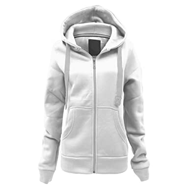 Usisex jacket with zipper and drawstring hood, with contrasting white.