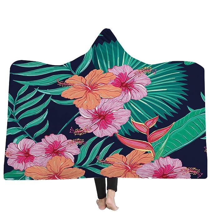 YJZ Manta para niños Huggable con Capucha para Adultos - Flor de Planta - La compañera de Juegos Hijo Batas de baño Capa Capa Baño,D,150 * 200cm: Amazon.es: ...