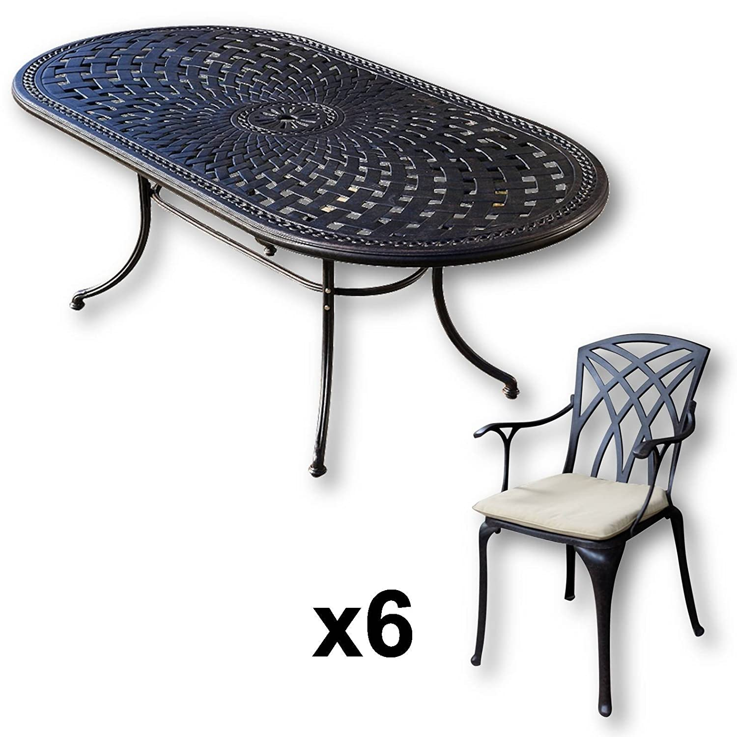 lazy susan catherine 210 x 105 cm ovaler gartentisch mit 6 st hlen gartenm bel set aus. Black Bedroom Furniture Sets. Home Design Ideas