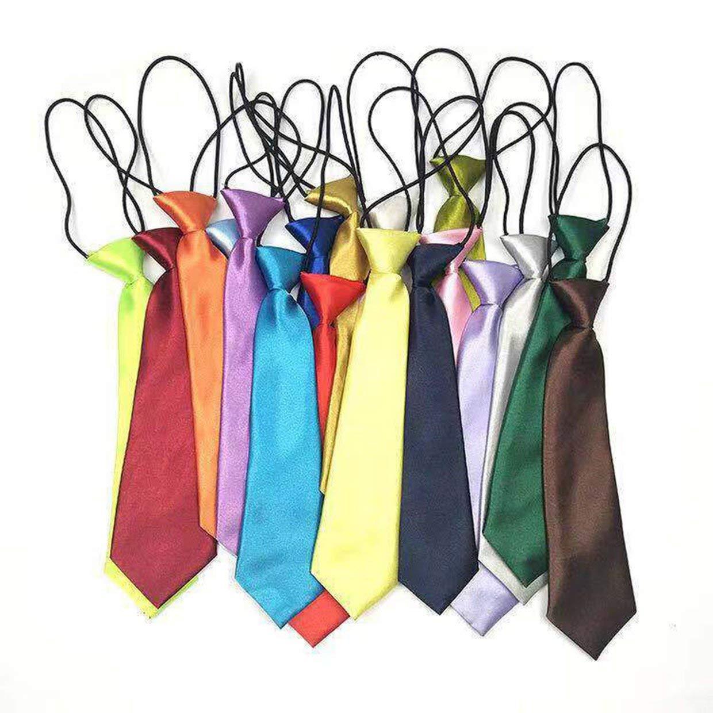 MXECO School Boys Children Kids Baby Wedding Solid Colour Elastic Tie Necktie Boy Tie Baby Wedding Necktie Neck Tie Stain