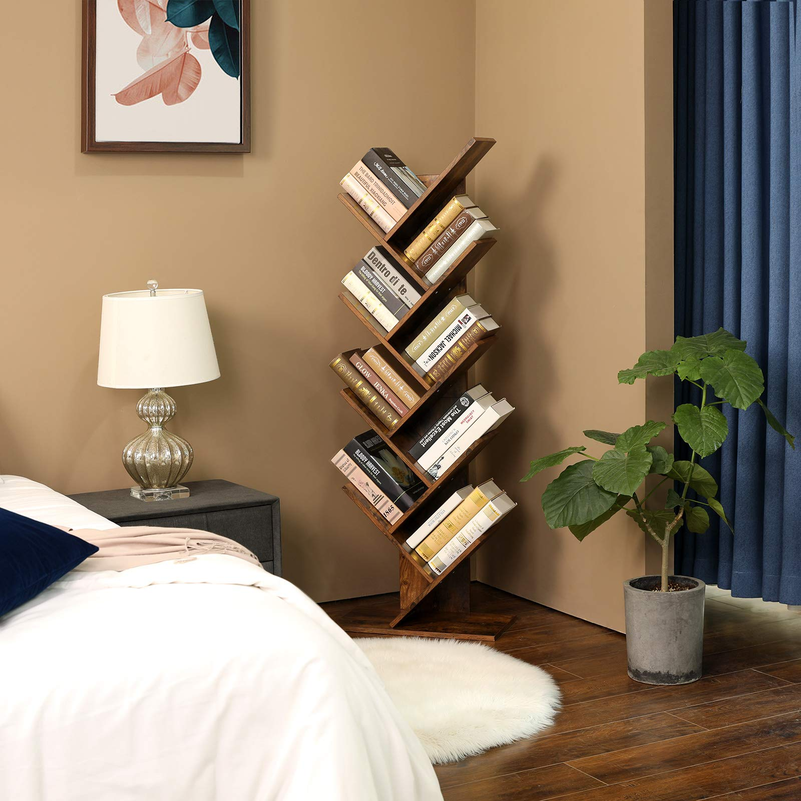 VASAGLE Tree Bookshelf, 8-Tier Floor Standing Bookcase, with Wooden Shelves for Living Room, Home Office, Rustic Brown ULBC11BX by VASAGLE (Image #3)
