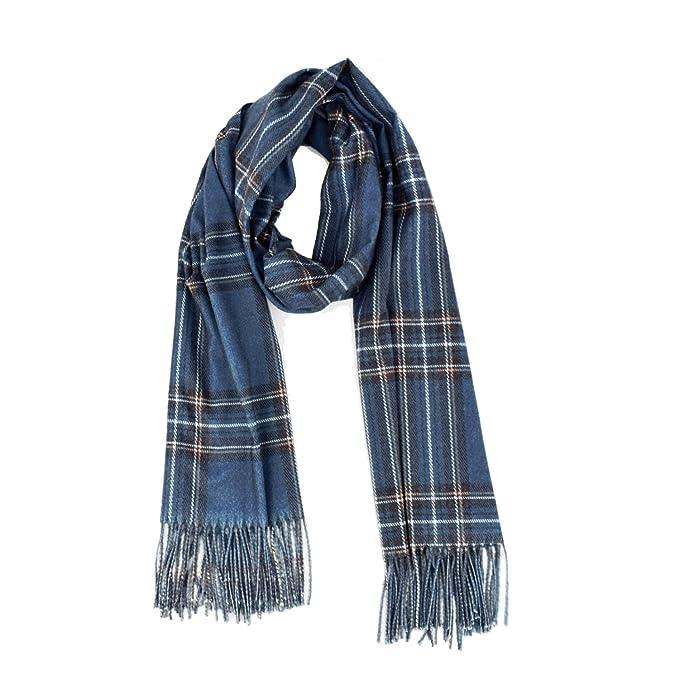 2c36bef50 Blanket Cashmere Plaid Scarf for Women - 2019 Fashion Double-sided Tartan  Wrap(Blue