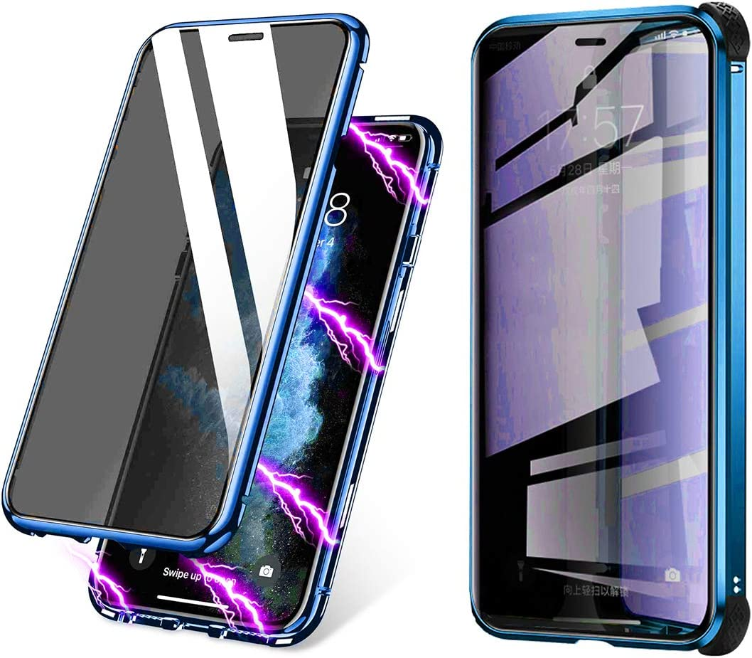 BVCY Magnetic Adsorption Case for iPhone 7 Plus iPhone 8 Plus with Built-in Anti-Spy Privacy Screen Protector Anti-Peeping Case (Blue)