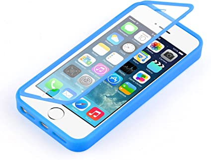 Coque iPhone SE, iPhone 5 5s coque à rabat transparent | JammyLizard | Coque anti choc silicone à rabat flip cover étui intégral pour iPhone SE, ...