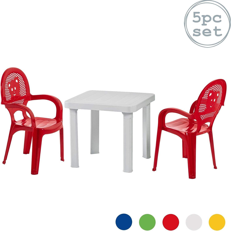 Sillas Resol niños Niños del jardín al aire libre plástico y Mesas - Sillas Rojas, Mesa Blanco - Childs Muebles (Pack de 4 sillas y 1 tabla): Amazon.es: Hogar