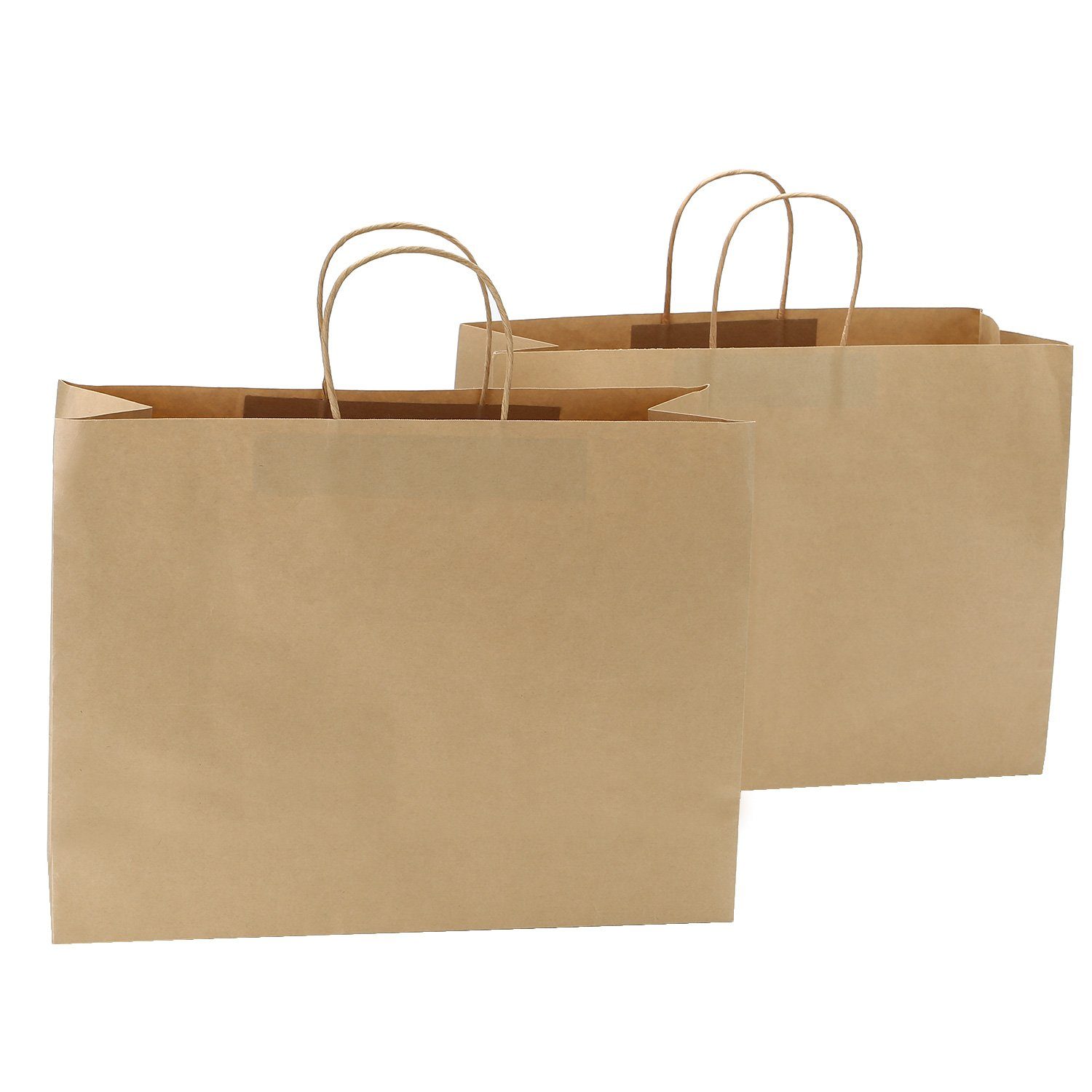 Road 16x6x12 Inches 100 Pcs Large Kraft Brown Paper Bags with Handles, Shopping, Grocery, Mechandise, Party Bags by Road